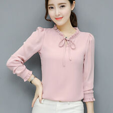 Korean Womens Ladies Chiffon Shirt Long Sleeve Ruffle Bows Casual OL Blouse Tops