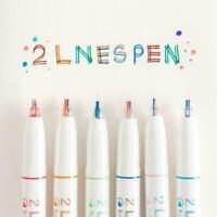 Fantasie kreative zweizeilige Stift Büromaterial doppelte Linie Mode Stift X2W1