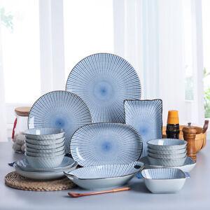 Ceramic Japanese Style Crockery Sets Dish Plate Bowl Stripe Tableware Accessory