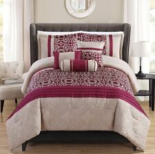 Luxurious 10 PCS Burgundy/Taupe Bed in a Bag w/500TC Cotton Sheet Set New.