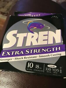 Stren Extra Strength18 lb test clear Monofilament 330yds.(diameter of 10lb)