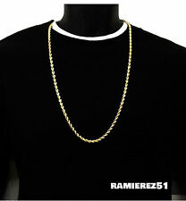UK Gold Necklace Twist Bling Hip Hop Mens Rope Unisex Chain 28 inch 4mm