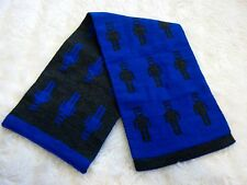 Boys' Black & Blue Robot Knitted Fabric Cloth Short Scarf Sample 56 cm x 16 cm