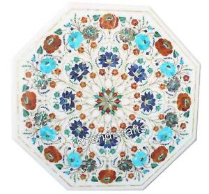 Multi Edelsteine Eingelegt Kaffee Tischplatte Weiß Marmor Bett Ende 38.1cm