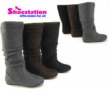 Womens Fashion Boots Mid-Calf Flat Comfort Slouch Stylish Shoes Faux Suede NEW