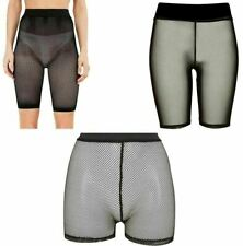 Ladies Womens Fishnet Mesh Cycling Shorts Hot Pants All Over Mesh Cycling Shorts