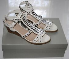 "KURT GEIGER Carvela Shoes White Leather Silver Studded UK4/EU37/US7 2"" Strappy"