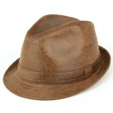 Trilby Hat Leather Effect Distressed Vintage Cracked New Band Brim Brown Green