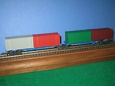 HO Frateschi shared bogie container wagons w/4 containers EFVM. Lima cplr C-9 sc