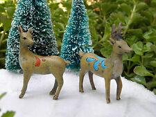 Miniature Dollhouse FAIRY GARDEN ~ Winter Woodland CHRISTMAS Set of 2 Deer NEW