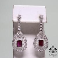Antique Art Deco Platinum Diamond & 1.50ctw Ruby Earrings