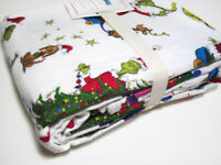 Pottery Barn Kids Multi Color The Grinch And Max Flannel Cotton Twin Duvet Cover