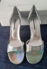 ed8d9614c80 Lumiani High Heels Open Toe Silver Size 9 US  40 EUR Leather New