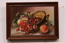 Dipinto / quadro olio su tela natura morta con cesto di frutta XX sec. painting