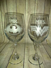 Batman & Wonder Woman Wine Glasses - Mr and Mrs Hand Etched Wine Glasses -