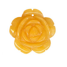 25MM YELLOW JADE ROSE SHAPED FLOWER BEAD - TOP DRILLED