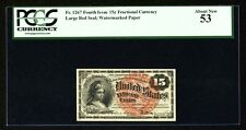 """1869-75  15 CENTS FRACTIONAL CURRENCY FR-1267 CERTIFIED BY PCGS """"ABOUT NEW-53"""""""