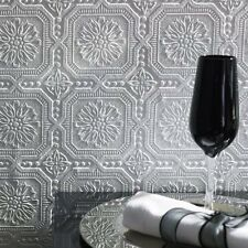 White Paintable Buckingham Faux Tin Tile Wallpaper - Highly Embossed - 10m Roll