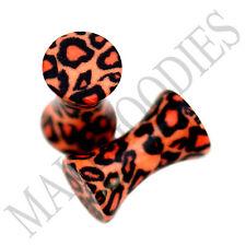 0188 Double Flare Acrylic Leopard Cheetah Print Saddle Ear Plugs 6G Gauge 4mm