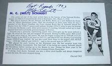 Original NHL Boston Bruins HHOF Milt Schmidt Signed Sheet