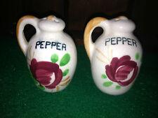 Rare Vintage Salt and Pepper Shakers porcelain / ceramic jug with rose , flower