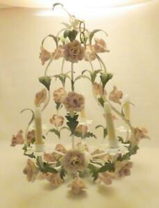Vintage 1950's Tole Italian 5-lite Hanging Chandelier~PINK PORCELAIN Roses~