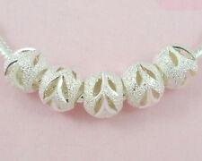 30pcs Silver/P Carved Stardust Bead Fit Bracelet ST01