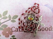 8 mm Crystal w/Red Center Faceted Glass Bead - Sacred Heart Centerpiece - Rosary