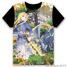Sword art online Anime Alice schuberg Cosplay Black 3d T-shirt Casual Tee&Tops
