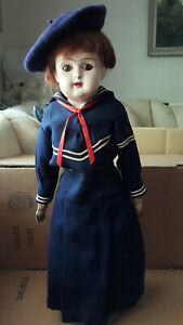 Antique Composition Doll W/Sleepy Eyes, Leather Body 18 Inches  Open Mouth/Teeth