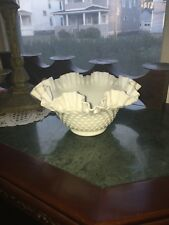 Fenton Milk Glass Hobnail Ruffled Bowl