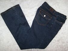 Crest Jeans Womens Straight Leg Lace Up Blue Denim Jeans Size 11/12 Stretch EUC