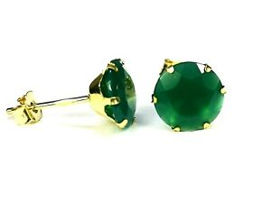 9ct Gold  Real Green Agate 6 mm. Studs Earrings, Made in UK, BOXED S1200