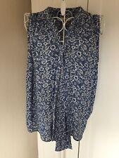 Papaya Blue And White Floral Print Tunic Style Sleeveless Blouse, Size 12