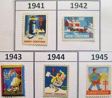 Christmas Seals of the World War 2 Era Set of 5 MNH 1941 1942 1943 1944 & 1945
