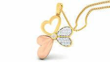 Pave 0,28 Cts Rond Brillante Couper Diamants Pendentif En 585 Solide 14 Carat Or
