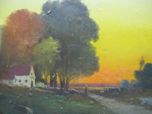 Antique 1800's Pastel/Gouache on Board Painting Bucolic Farm at Fiery Sunset yqz