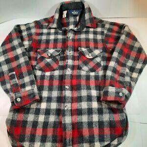 Mens Woolrich Wool Shirt, Size S/M, Plaid, 2 Button Flap Pocket, SHRUNKEN
