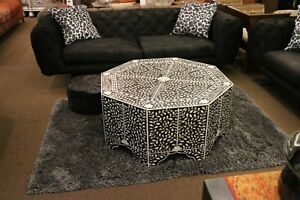 Mother of Pearl Moroccan Syrian Style Inlay Coffee Table.