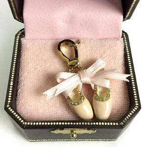 Juicy Couture Charm Ballet Slippers Dance Pink Enamel Goldtone Crystals Bow Box
