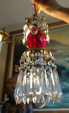 1of4 Vintage ruby Red Lucite SWAG plugin fixture lamp chandelier crystal prisms