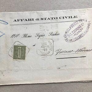 M) Lettera Regno annullo quadrato collettoria Castelnuovo Rangone Modena 1891