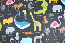 "HARLEQUIN SCION CURTAIN FABRIC ""Animal Magic"" 2.1 METRES TUTTI FRUTTI/BLACKBOARD"