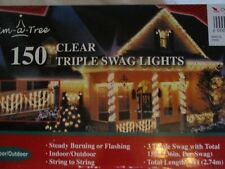 Trim A Tree 150 Clear Triple Swag Lights - New
