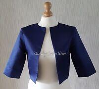 Navy Blue Satin Bolero/Shrug/Cropped Jacket/Stole/Shawl/Wrap 3/4 Wedding #4