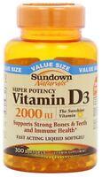 Sundown Naturals Vitamin D3 2000 IU Softgels Super Potency 300 ea (Pack of 2)