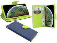 Zubehör für iPhone Xs Max Book-Style Tasche Etui wie ein Buch in Blau-Grün