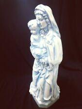 MATER DEI- Vintage Porcelain Ceramic Iridescent Glaze Blue Virgin Mary and Jesus