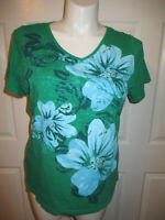 Fashion Bug Top Blouse Short Sleeve V-neck Green Blue Floral Print Women's 1X