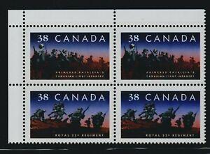 1989 Canada SC# 1250a UL - Canadian Infantry Regiment - Plate Block M-NH # 3245